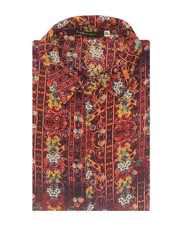 Camisa Boho bordô c/floral