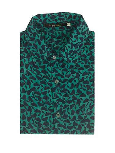 Camisa peixes fundo verde