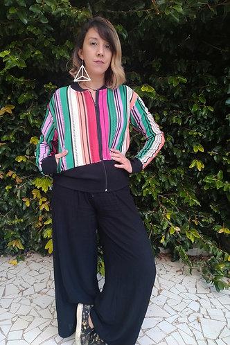 Jaqueta curta listras coloridas