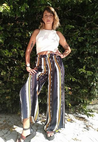 Calça Pantalona aquarela listras