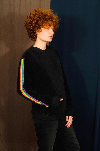 Blusa plush faixas arco íris
