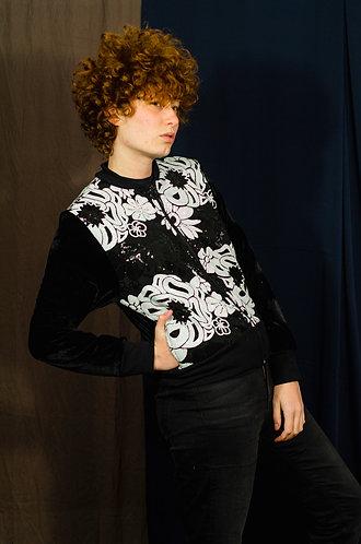 Jaqueta veludo com frente bordada P&B