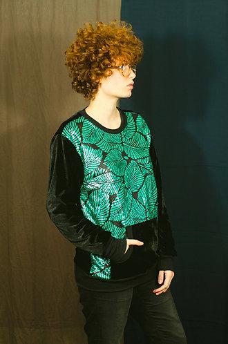 Blusa frente bordada folhas