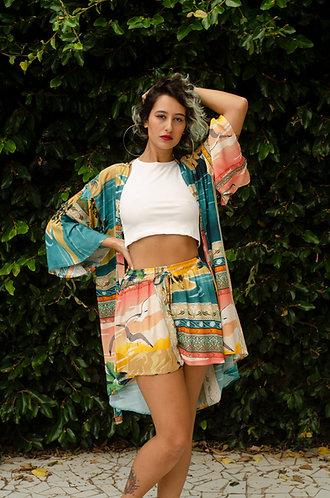 Kimono lenço tropical