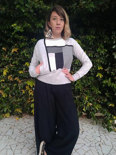 Blusa Crop recortes Mondrian