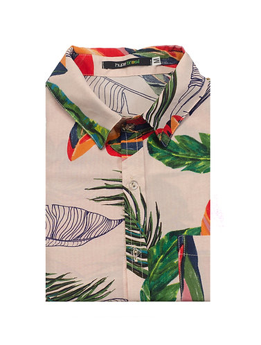 Camisa Tropical Fundo Rosa