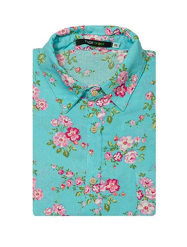 Camisa Floral Vintage azulzinha