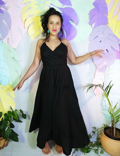 Vestido Midi Preto Linho