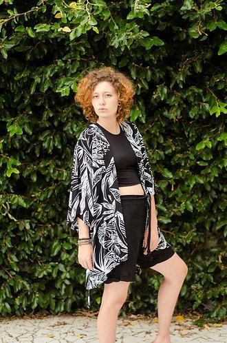 Kimono Preto e  Branco tropical