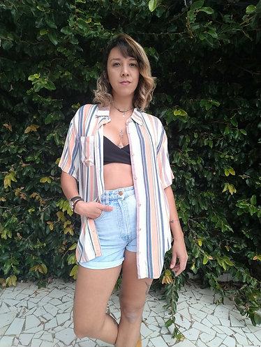 Camisa listras com coral