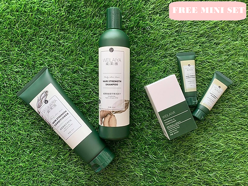 WEILAIYA Set Shampoo 400ML & Conditioner 250ML HAIR LOSS TREATMENT FREE MINI SET