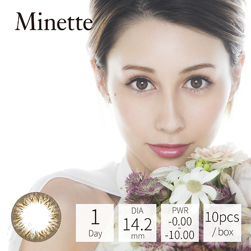 PIA - Minette 1-Day Color Lens Layer Almond [P-1.00 (10 pcs)]