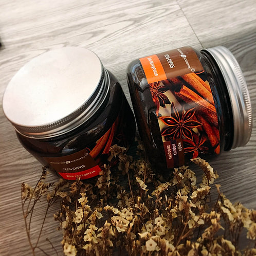 Body scrub extracted from cinnamon, anise, and coffee 380gr Made In Russia
