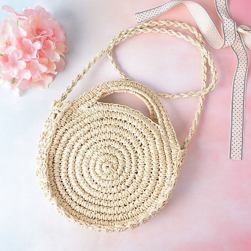 Woven round handbag purse cross body