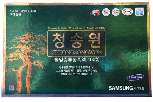 Cheongsongwon Red Pine Essential Oil 180 Capsules Green Box 450mg x 180ea