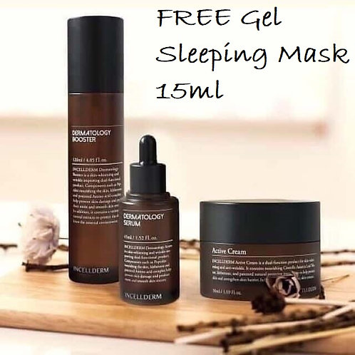 Incellderm Dermatology Set Booster + Serum + Active Cream FREE Gel Sleeping Mask