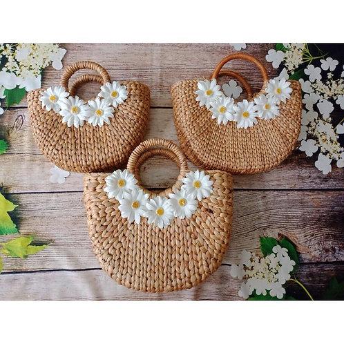 Flower Design Rattan Circle Bag Tote