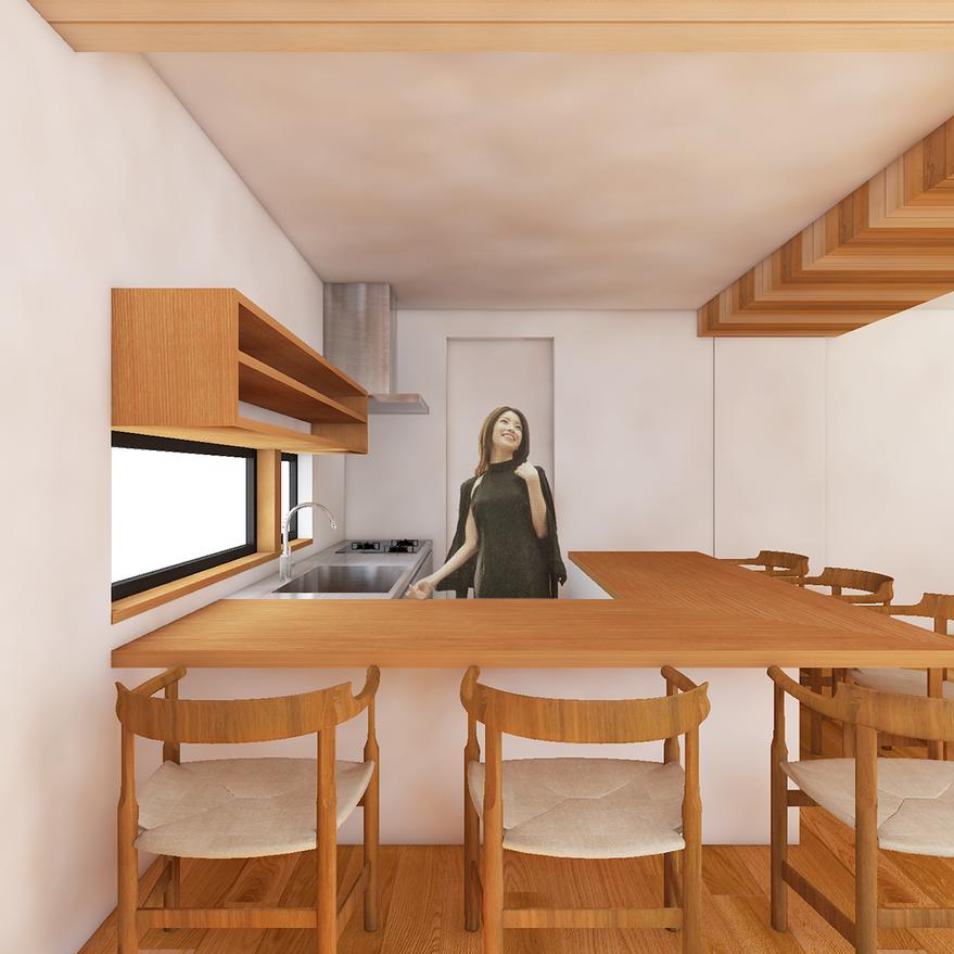 HOUSE-TSU CG 内観パース 造作キッチン+ダイニング