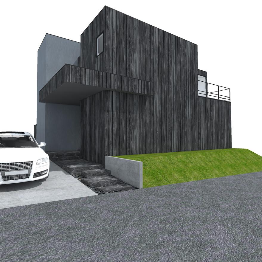 HOUSE-Y CG 外観パース アプローチ1