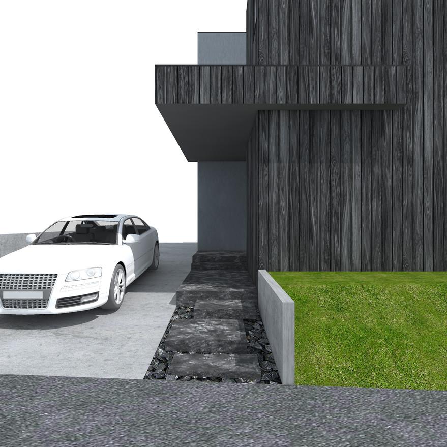 HOUSE-Y CG 外観パース アプローチ2