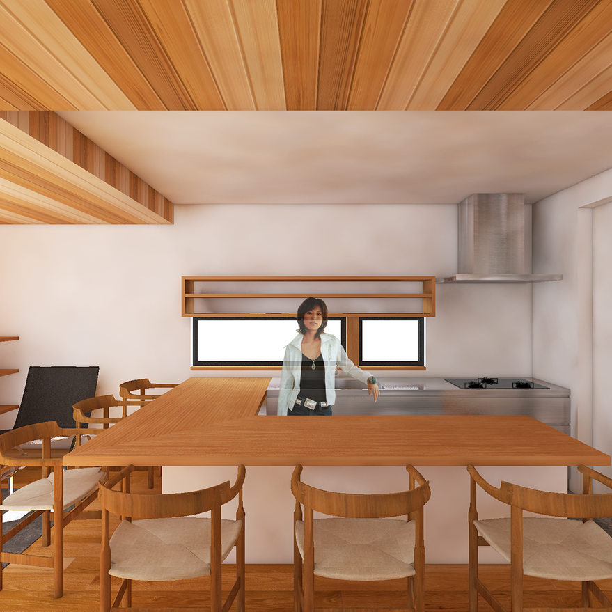 HOUSE-TSU CG 内観パース 造作キッチン