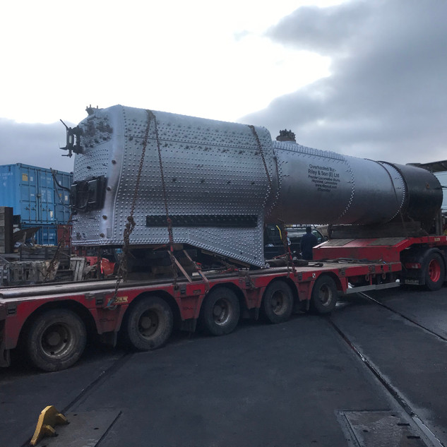 The boiler arrives at Minehead
