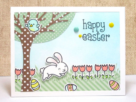 Happy Easter Spring Scene Card