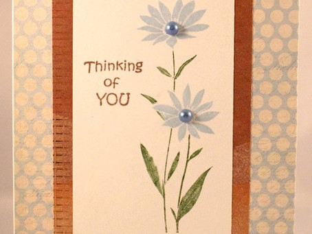 Blue Floral Thinking of You Card