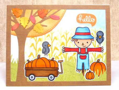 Fall Hello Scarecrow Scene Card