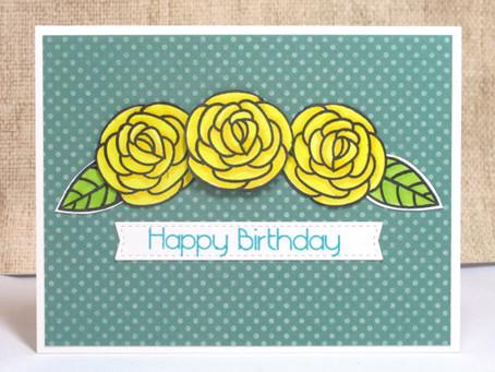 Birthday Yellow Roses Card
