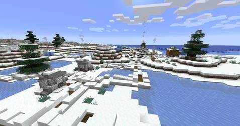 Snowy village at the coast