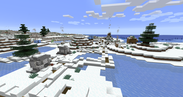 Snowy village at the coast