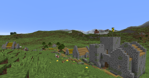 Plains village with a small castle and pillageroutpost in the distance