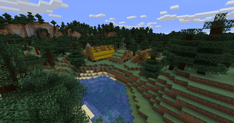 Taiga village in the forest