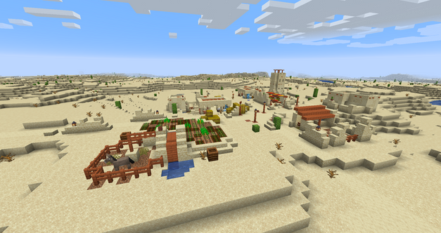 Desert village with fields