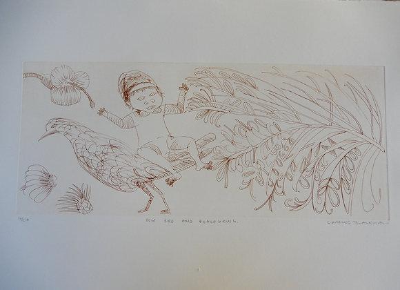 Charles Blackman, Boy, Bird and Bottlebrush Ed. AP/1, etching
