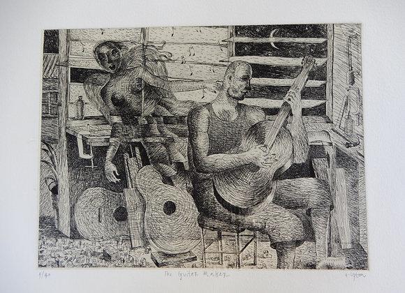 Amanda Upton, The Guitar Maker, triple plate etching, image size 24.5 x 32cm