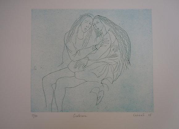 Judy Cassab, Embrace, etching,image size 25 x 29cm