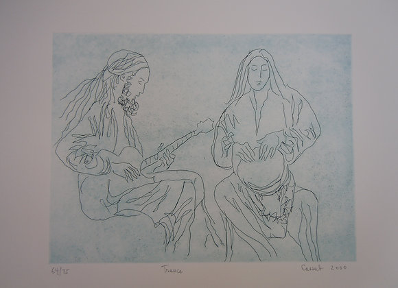 Judy Cassab, Trance, etching,image size 26 x 29cm