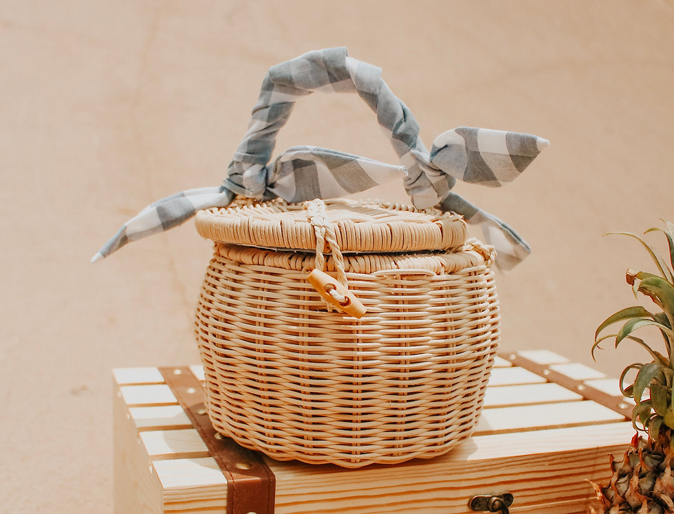 Leighton Gingham Rattan Bag
