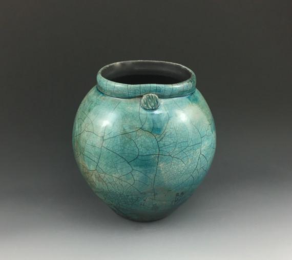 """Raku fired vase 10"""" in green Glazed Over Ceramics Orinda"""