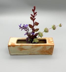 Rectangular ikebana vase Glazed Over Ceramics Orinda
