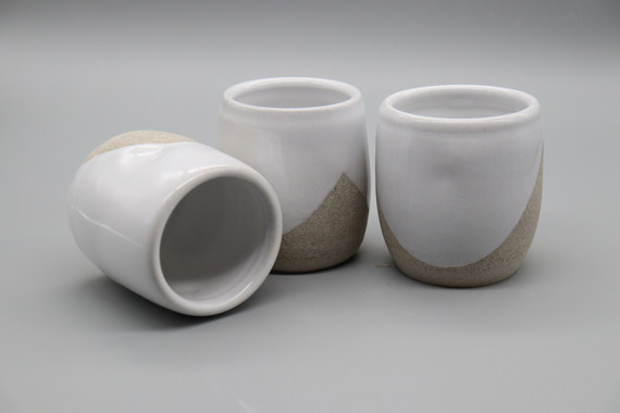 Thumbprint tumblers in white with gray clay by Glazed Over Ceramics Orinda