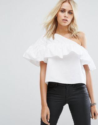 White Ruffle One Shoulder