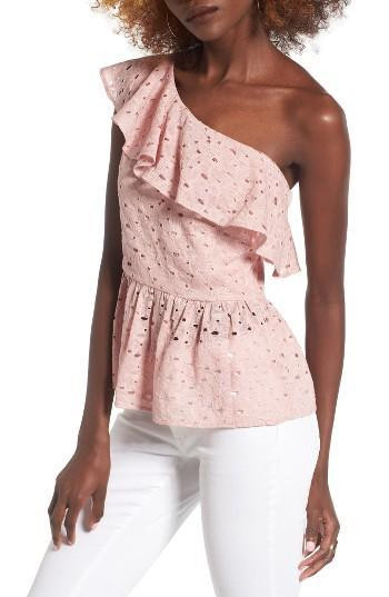 Blush Ruffle one shoulder
