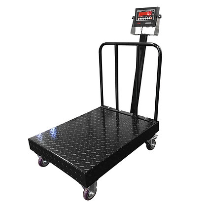 OP-915 Diamond Plate Bench Scale with Wheels and Backrail