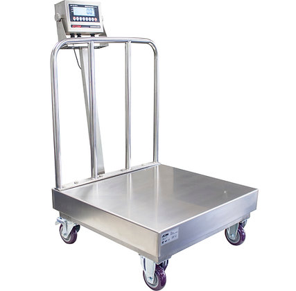 OP-915SS Stainless Steel Washdown Bench Scale with Wheels and Backrail