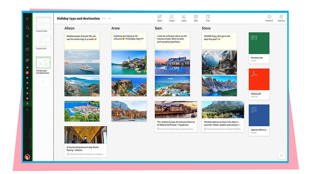 Brainstorm vacation destination on a visual board