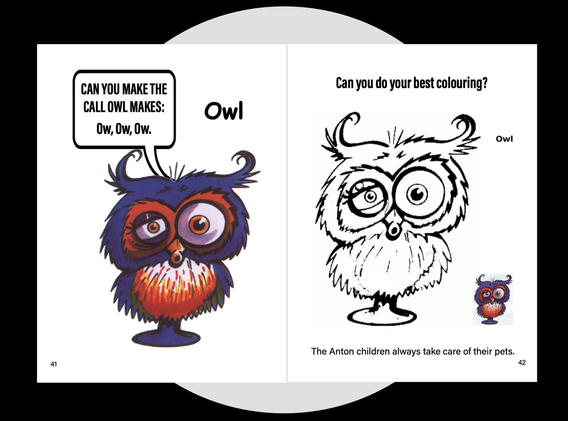 The Pets Owl colouring page