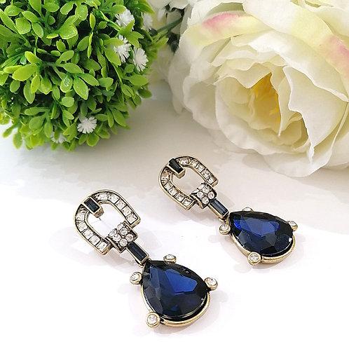 Aretes Gota Azul Marino